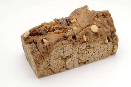 whitw: Bread over whitw background. Rye and dried fruits.