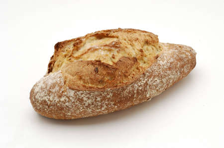 whitw: Bread over whitw background. Corn and seeds of sunflower. Stock Photo