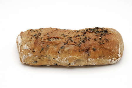 whitw: Bread over whitw background. olives, nuts and bacon.