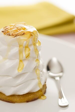 blurr: Meringue cake with honey with a yellow prop as blurr background Stock Photo