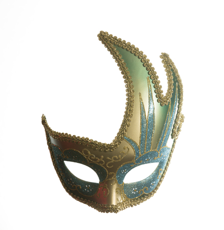 white mask: colorful venetian carnival mask on white background with free space for text