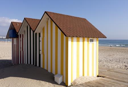 mediterranean houses: colorful beach service houses in San Juan beach, mediterranean coast