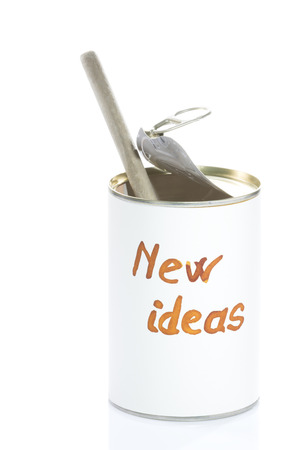 metaphorical: can totally empty of new ideas, metaphorical photo for business and creative people Stock Photo