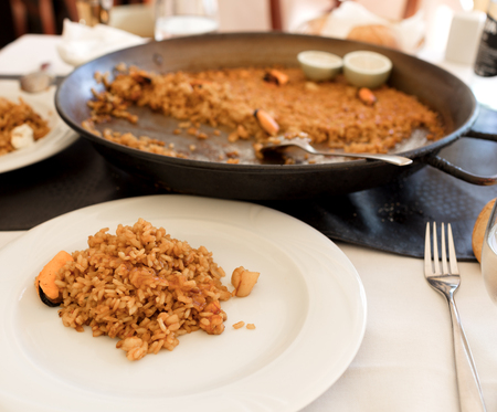 typical Spanish rice recipe called Paella due to the recipient in where it is cooked. In this case the recipe has sea foods