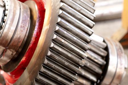roue dentée d'un engrenage hélicoïdal dans une boîte de vitesses, détail des dents avec les roulements