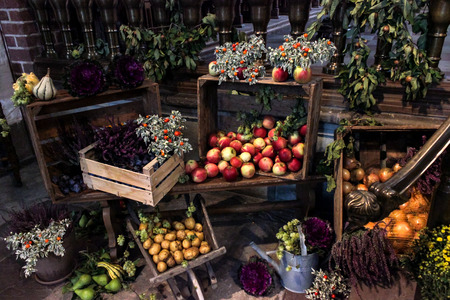 different agricultural products in a colorful composition, potatoes, apples, pumpkins, tomatoes, and vegetables with their boxes 免版税图像