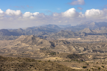 mountain landscape of alicante, mountains without vegetation and eroded under a blue sky