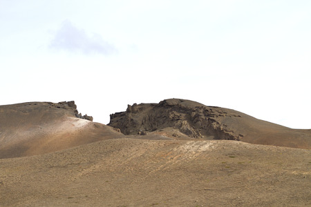 volcanic landscape in iceland, hills of sand and solidified lava under a gray sky 免版税图像