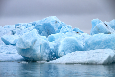 big blocks of blue ice of a glacier floating on the water with a gray sky