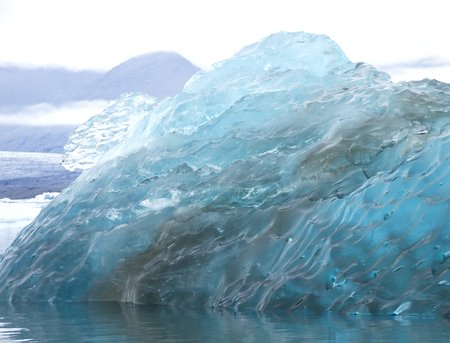 big blocks of blue ice of a glacier floating on the water with a gray sky and the glacier on the background
