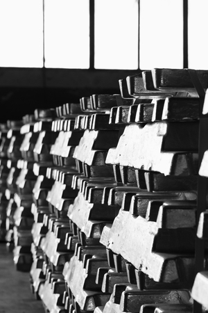 aluminum ingots stacked in the warehouse waiting for meltting