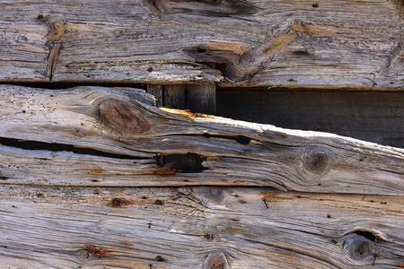 very old exterior wall of an old building made of dry wooden boards of gray color with orange spots of rusty nails 免版税图像
