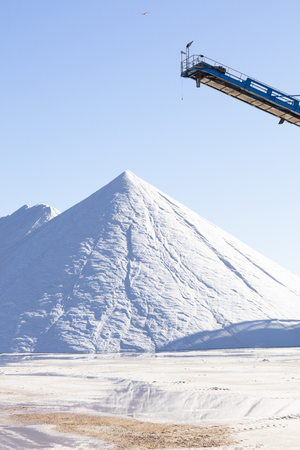 white salt mountain on blue background, high resolution image and size
