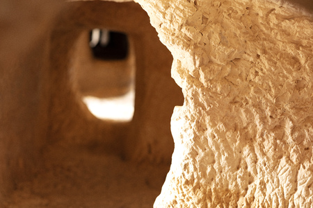caves dug into the mountain rock by ancient muslim settlers to store food in Bocairent, Spain