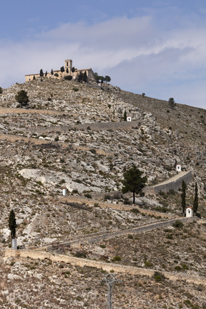 ermitage of saint christ on top of the hill in Bocairent, Spain with the pathway