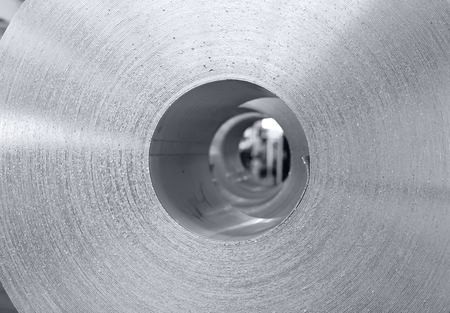 wall texture of aluminum coil stored waiting for the process just after continuous caster machine. Black and white photo for cover magazine