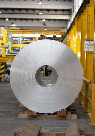 aluminum coil stored waiting for the process just after continuous caster machine