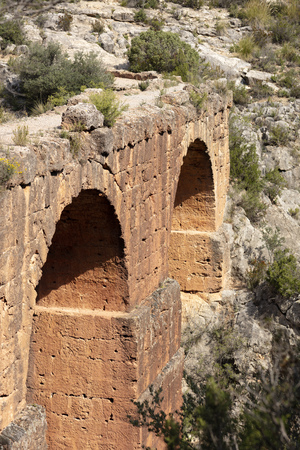 Roman aqueduct of the rock cut in Chelva, Valencia, built in the 1st century AC by the romans is one of the most important in Spain