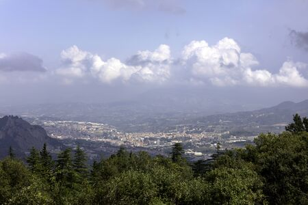 panoramic view of the city of Alcoy with its bridges over the ravines, photo from the natural park