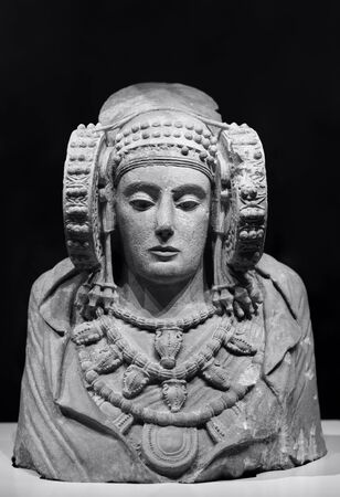 iberia sculpture of the lady of elche, black and white photo