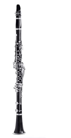 old clarinet body, with the silver mechanisms on the black wood. white background and free space for text Banco de Imagens