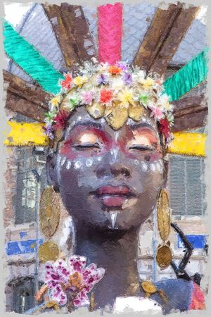 beautiful portrait of colored woman with colorful hair decorations Banco de Imagens