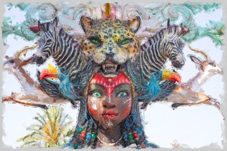 beautiful painting of colored woman with ornaments of animals on the hair Banco de Imagens