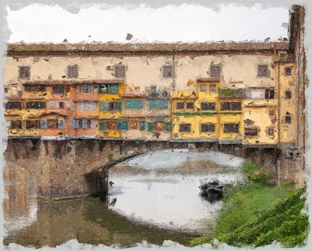 view of the Ponte Vecchio over the Arno river in Florence with the old houses painted in yellow built on the sides of the bridge 免版税图像 - 144552286