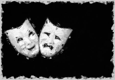 theatre mask expresing the tragedy and the comedy, white mask on black background with free space for text Banco de Imagens
