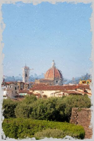 florence cathedral, Duomo, from the Boboli gardens in the Piti palace, free space for text 免版税图像 - 145560879