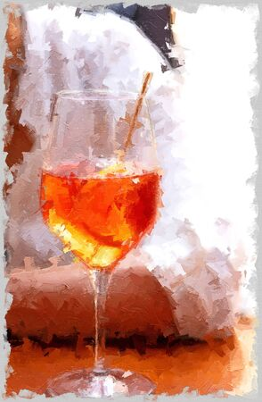 fresh aperol cocktail on a brown table with a blurred person as background