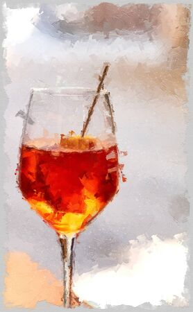 aperol cocktail, red and orange color, on blurred background with free space for text