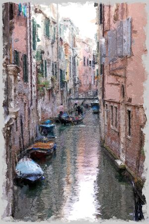narrow canal in Venice with boats stracked to the sides and two gondolas in the background navigating 免版税图像 - 144552528