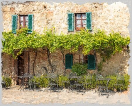 terrace restaurant under grapevines in an small village of Tuscany