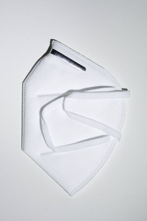 personal hygienic mask color white with metallic nose adapter on white background Banco de Imagens