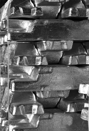 industry background picture of aluminum ingots stacked and stored, black and white photography 免版税图像