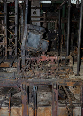 industrial installation destroyed by a fire with cabinets, structures and pipes rusted