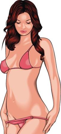 white underwear: Ragazza molto sexy in bikini rosso su sfondo bianco