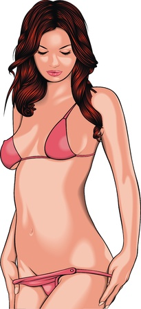underwear girl: very sexy girl in red bikini on the white background