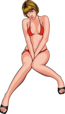 very sexy girl in red bikini on the white background Vector