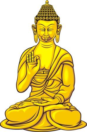 budha: golden budha isolated on the white background