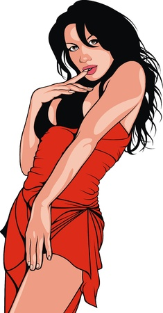 nice bikini woman on the white background Stock Vector - 17957903
