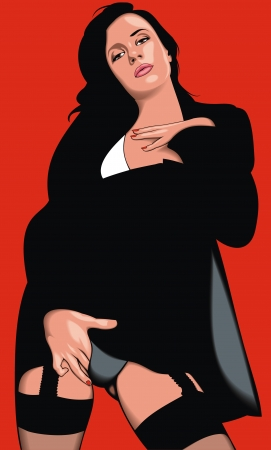 woman in the black dress on the red background