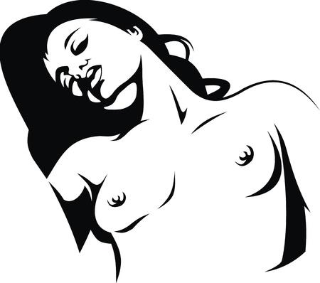 naked girl: nice naked girl in on the white background