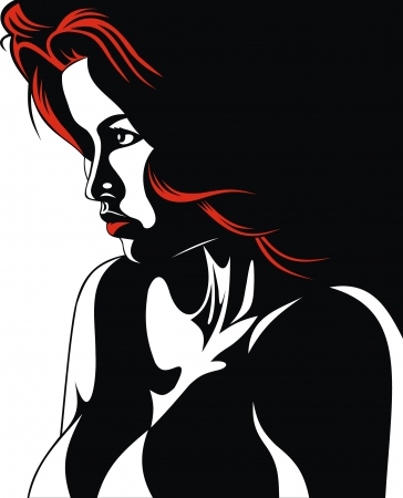 red hair woman on the black and white background Stock Vector - 17957954