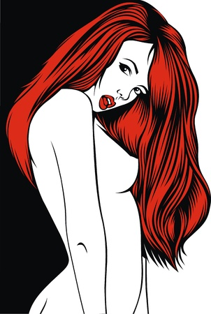 nude female: red hair woman on the black and white background