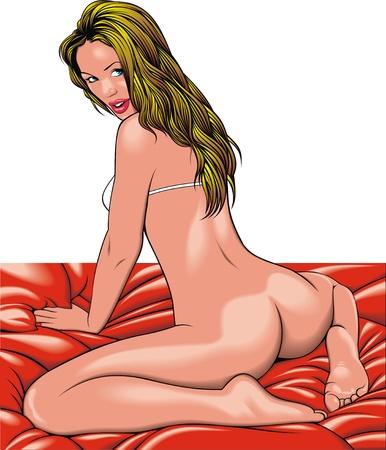 adult nude: bikini woman isolated on the white background Illustration