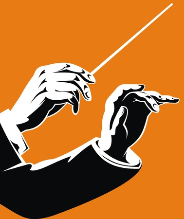 symphony orchestra: hands of leader on the orange background
