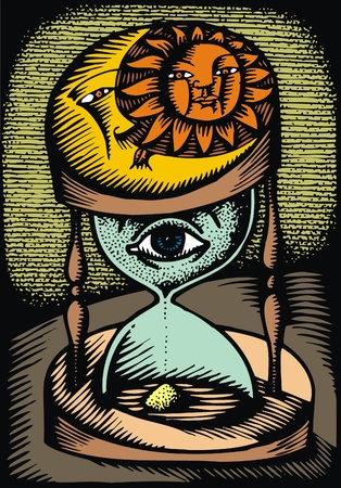 trickle down: illustration of the time with human eye  Illustration