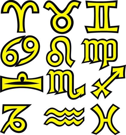 zodiac symbols isolated on the white background Stock Vector - 17958028